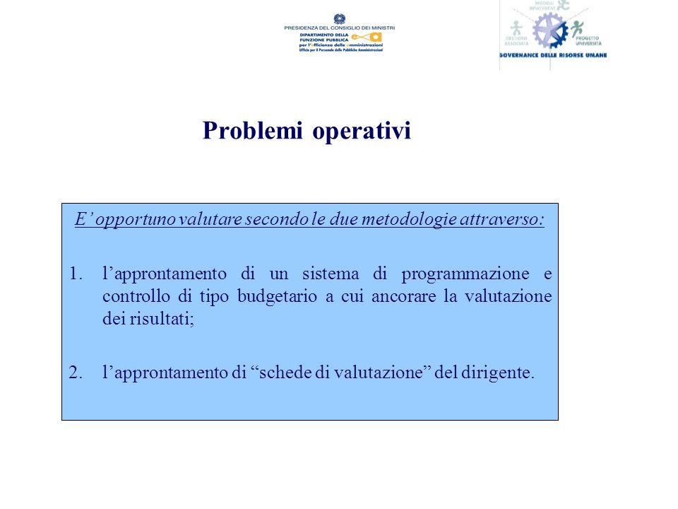 Problemi operativi E opportuno valutare secondo le due metodologie attraverso: 1.lapprontamento di un sistema di programmazione e controllo di tipo budgetario a cui ancorare la valutazione dei risultati; 2.lapprontamento di schede di valutazione del dirigente.