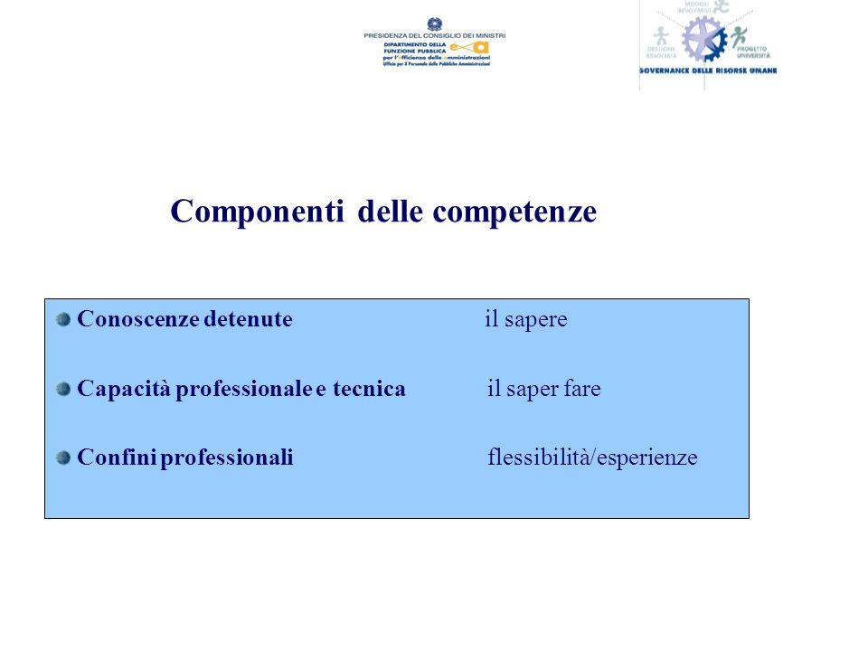 Componenti delle competenze Conoscenze detenute il sapere Capacità professionale e tecnicail saper fare Confini professionaliflessibilità/esperienze