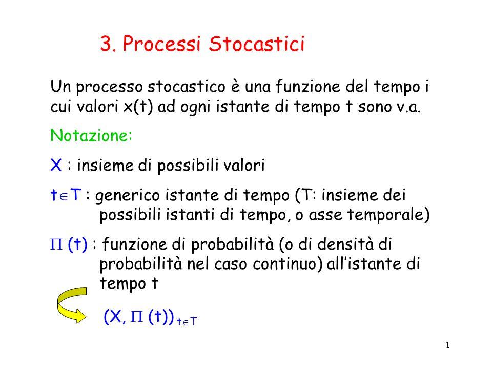 1 3. Processi Stocastici Un processo stocastico è una funzione del tempo i cui valori x(t) ad ogni istante di tempo t sono v.a. Notazione: X : insieme