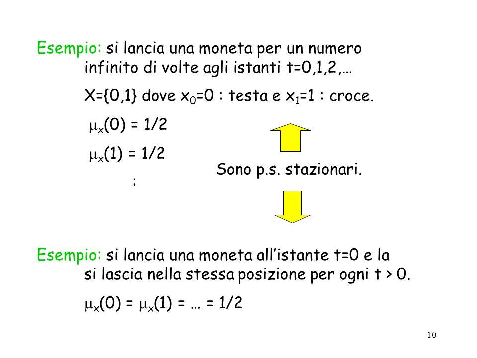 10 Esempio: si lancia una moneta per un numero infinito di volte agli istanti t=0,1,2,… X={0,1} dove x 0 =0 : testa e x 1 =1 : croce.