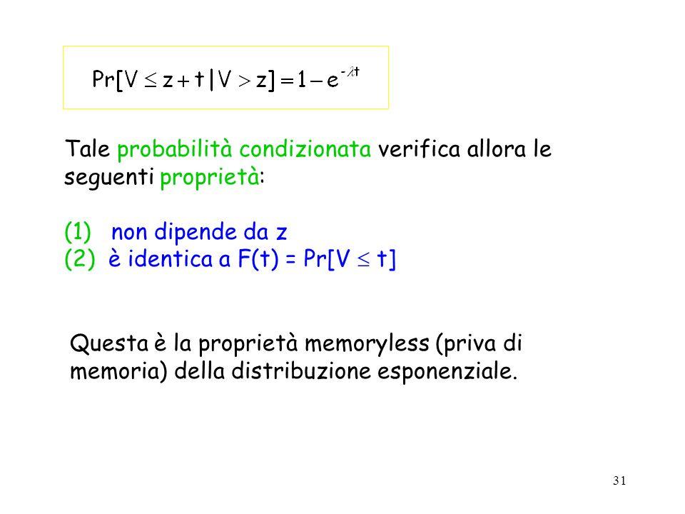 31 Tale probabilità condizionata verifica allora le seguenti proprietà: (1) non dipende da z (2) è identica a F(t) = Pr[V t] Questa è la proprietà memoryless (priva di memoria) della distribuzione esponenziale.
