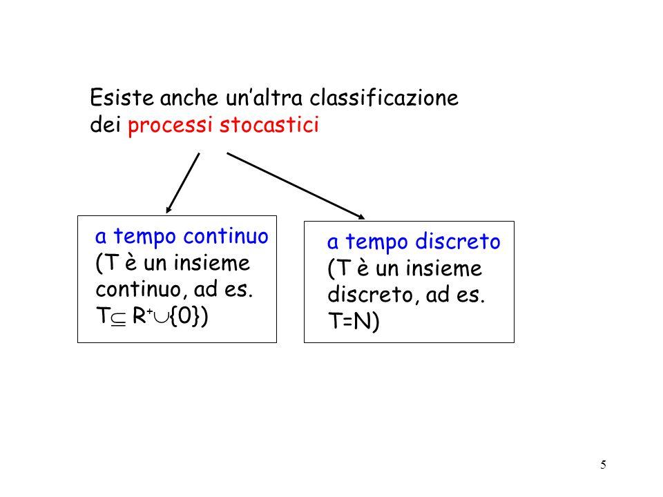 6 Esempi 1) x è pari al numero di persone in una coda X={0,1, … } spazio di stato discreto T= R + {0} tempo continuo 2) x è pari allaltezza di una persona il giorno del suo compleanno X= R + {0} spazio di stato continuo T = {0,1,…,n} tempo discreto