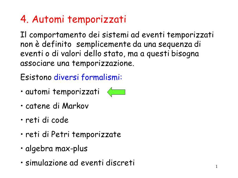 1 4. Automi temporizzati Il comportamento dei sistemi ad eventi temporizzati non è definito semplicemente da una sequenza di eventi o di valori dello