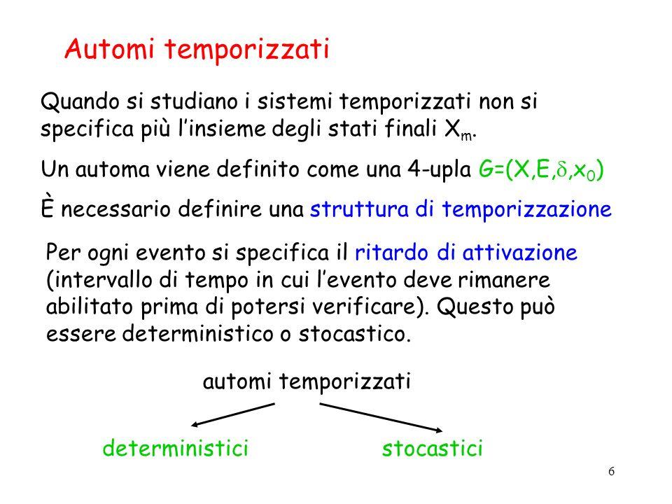 6 Automi temporizzati Quando si studiano i sistemi temporizzati non si specifica più linsieme degli stati finali X m. Un automa viene definito come un