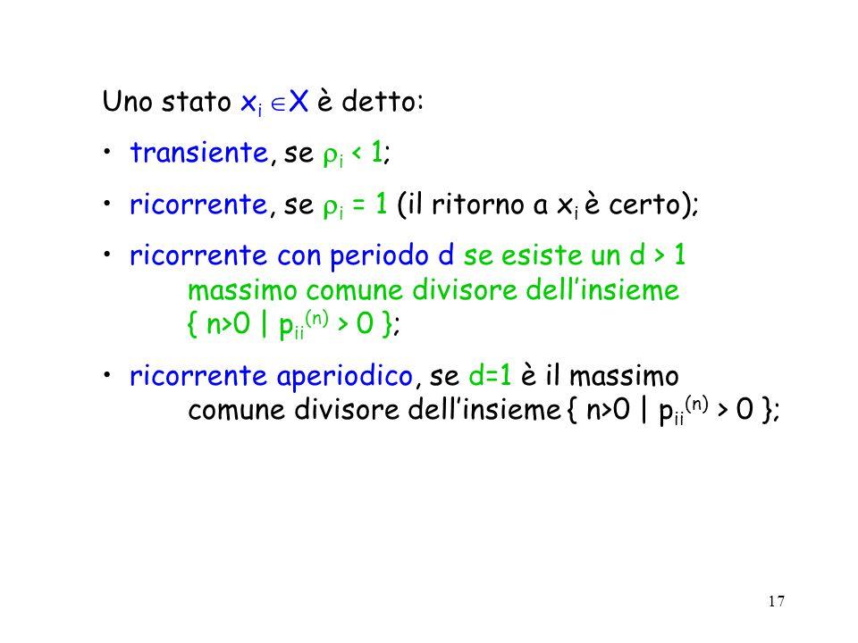 17 Uno stato x i X è detto: transiente, se i < 1; ricorrente, se i = 1 (il ritorno a x i è certo); ricorrente con periodo d se esiste un d > 1 massimo