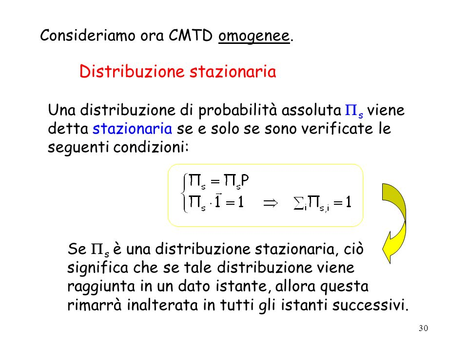 30 Distribuzione stazionaria Consideriamo ora CMTD omogenee. Una distribuzione di probabilità assoluta s viene detta stazionaria se e solo se sono ver