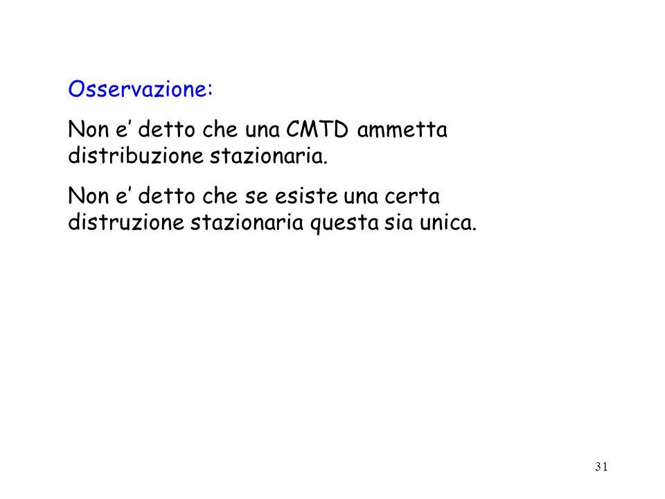 31 Osservazione: Non e detto che una CMTD ammetta distribuzione stazionaria. Non e detto che se esiste una certa distruzione stazionaria questa sia un