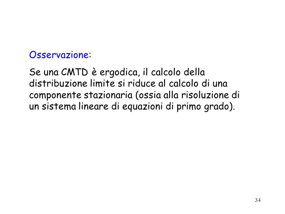 34 Osservazione: Se una CMTD è ergodica, il calcolo della distribuzione limite si riduce al calcolo di una componente stazionaria (ossia alla risoluzi