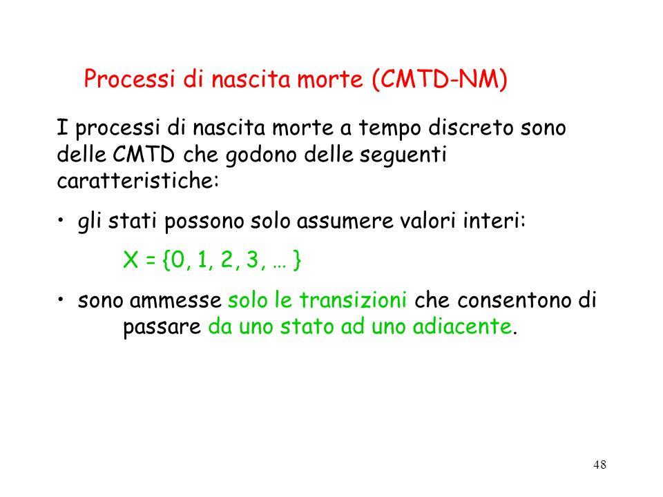48 Processi di nascita morte (CMTD-NM) I processi di nascita morte a tempo discreto sono delle CMTD che godono delle seguenti caratteristiche: gli sta