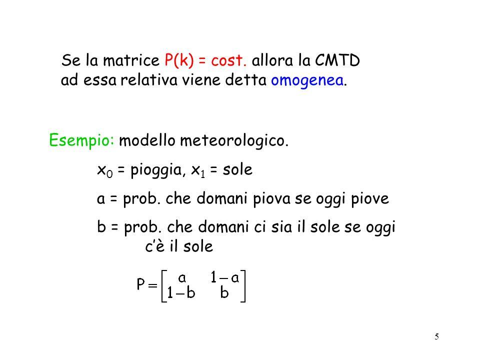 5 Se la matrice P(k) = cost. allora la CMTD ad essa relativa viene detta omogenea. Esempio: modello meteorologico. x 0 = pioggia, x 1 = sole a = prob.