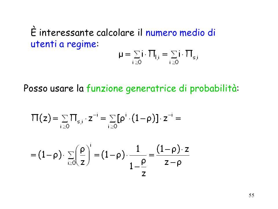 55 È interessante calcolare il numero medio di utenti a regime: Posso usare la funzione generatrice di probabilità: