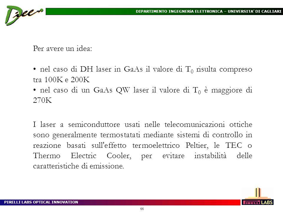 PIRELLI LABS OPTICAL INNOVATION 66 DIPARTIMENTO INGEGNERiA ELETTRONICA – UNIVERSITA DI CAGLIARI Per avere un idea: nel caso di DH laser in GaAs il val