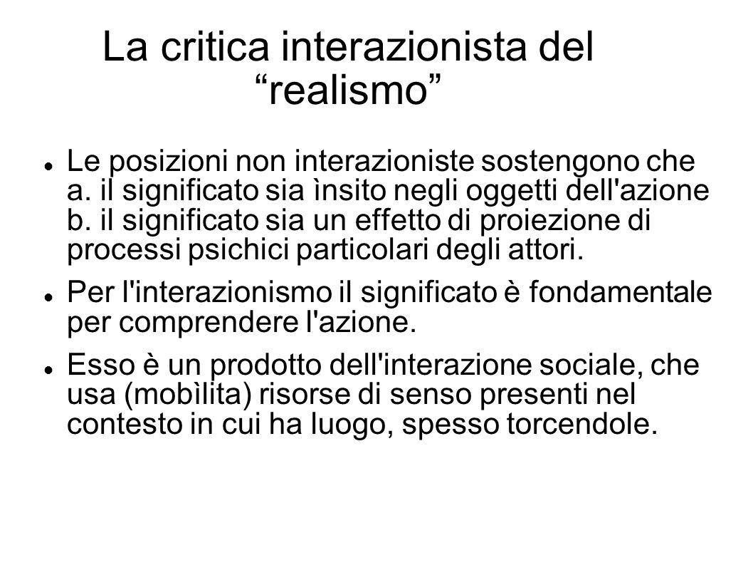 La critica interazionista del realismo Le posizioni non interazioniste sostengono che a. il significato sia ìnsito negli oggetti dell'azione b. il sig