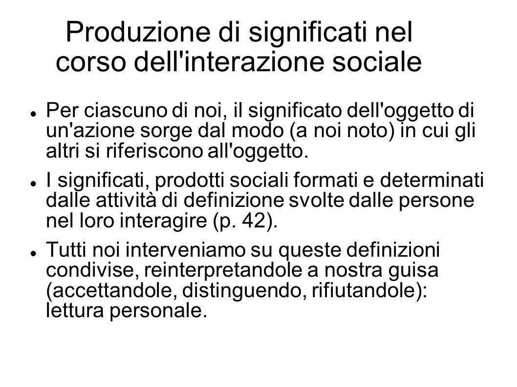 Produzione di significati nel corso dell'interazione sociale Per ciascuno di noi, il significato dell'oggetto di un'azione sorge dal modo (a noi noto)