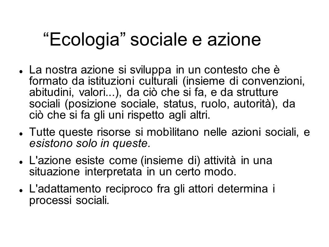Ecologia sociale e azione La nostra azione si sviluppa in un contesto che è formato da istituzioni culturali (insieme di convenzioni, abitudini, valor