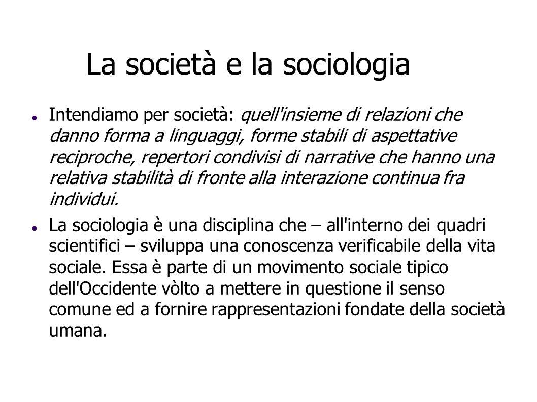 La società e la sociologia Intendiamo per società: quell'insieme di relazioni che danno forma a linguaggi, forme stabili di aspettative reciproche, re