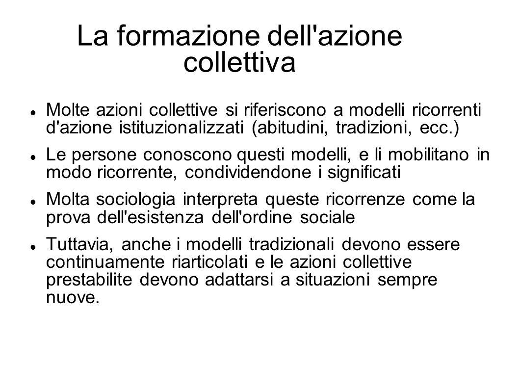 La formazione dell'azione collettiva Molte azioni collettive si riferiscono a modelli ricorrenti d'azione istituzionalizzati (abitudini, tradizioni, e