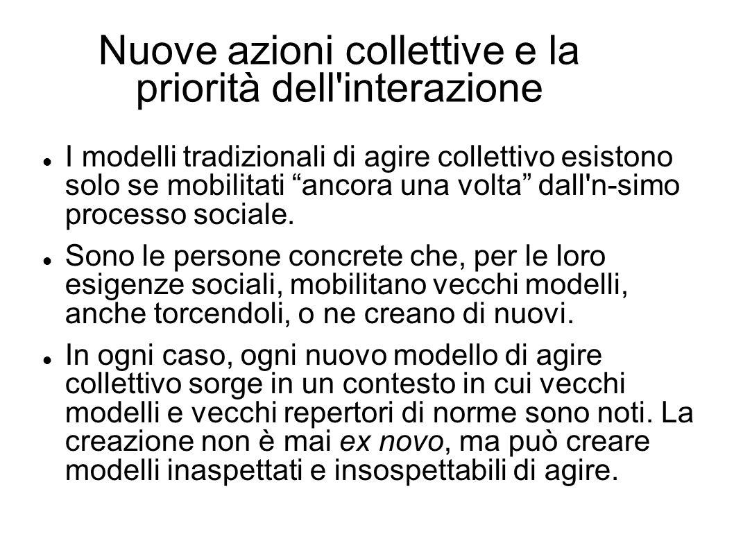 Nuove azioni collettive e la priorità dell'interazione I modelli tradizionali di agire collettivo esistono solo se mobilitati ancora una volta dall'n-