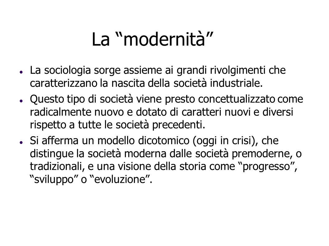 La modernità La sociologia sorge assieme ai grandi rivolgimenti che caratterizzano la nascita della società industriale. Questo tipo di società viene