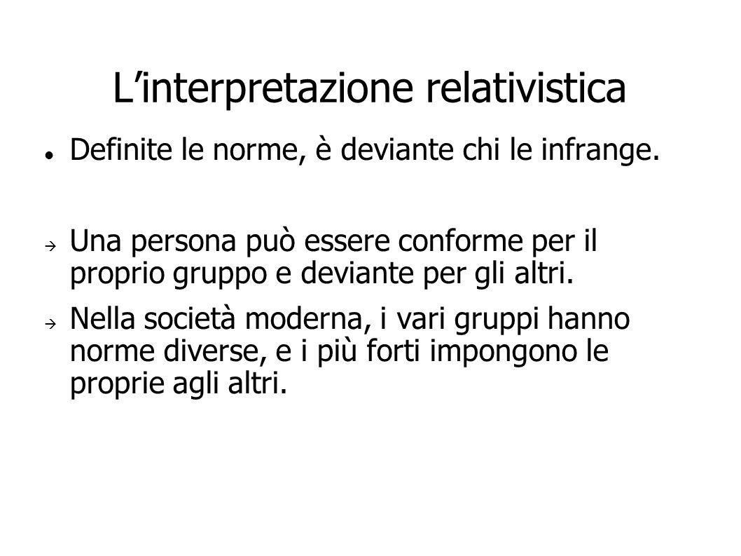 Linterpretazione relativistica Definite le norme, è deviante chi le infrange. Una persona può essere conforme per il proprio gruppo e deviante per gli