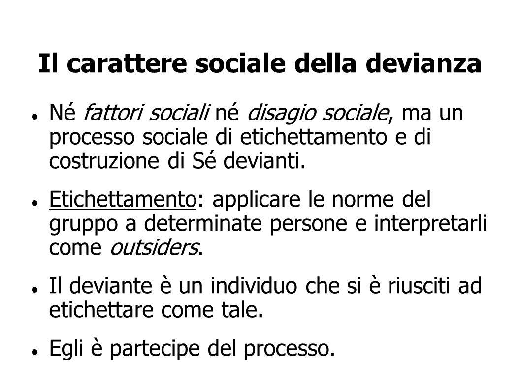 Il carattere sociale della devianza Né fattori sociali né disagio sociale, ma un processo sociale di etichettamento e di costruzione di Sé devianti. E