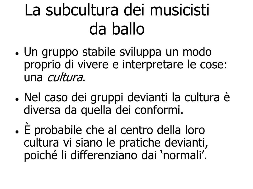 La subcultura dei musicisti da ballo Un gruppo stabile sviluppa un modo proprio di vivere e interpretare le cose: una cultura. Nel caso dei gruppi dev