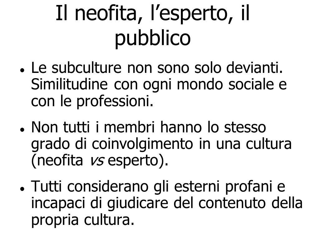 Il neofita, lesperto, il pubblico Le subculture non sono solo devianti. Similitudine con ogni mondo sociale e con le professioni. Non tutti i membri h