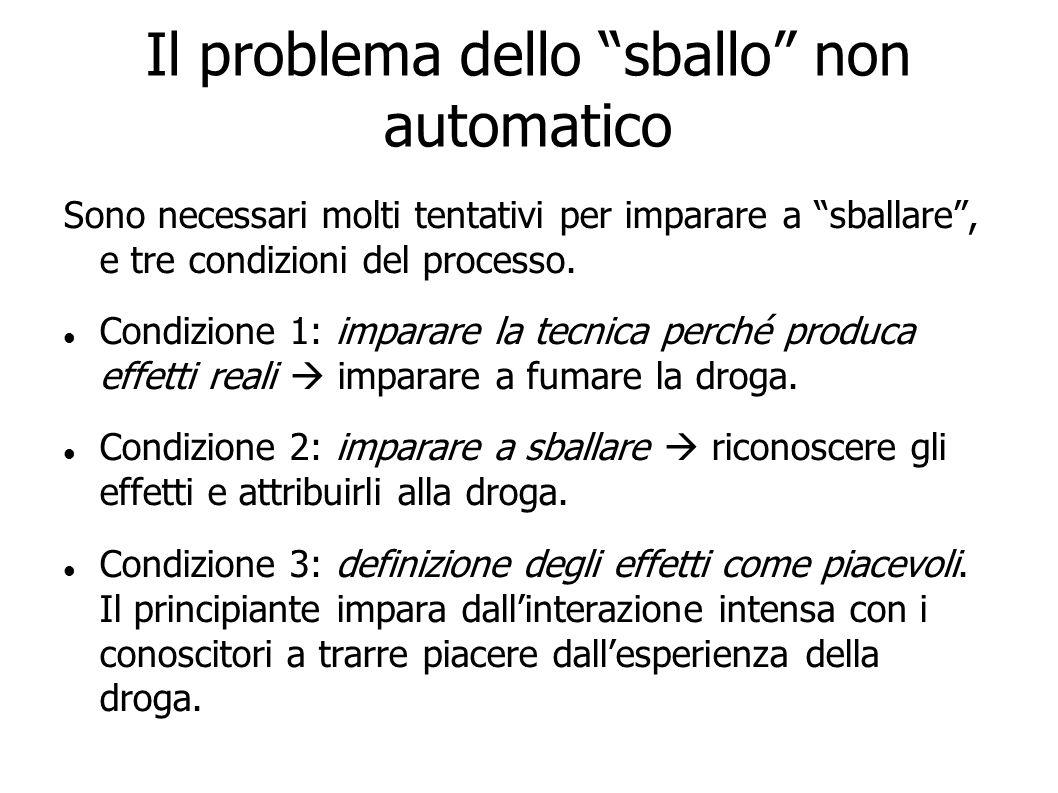 Il problema dello sballo non automatico Sono necessari molti tentativi per imparare a sballare, e tre condizioni del processo. Condizione 1: imparare