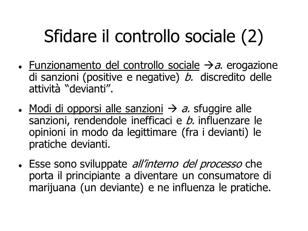 Sfidare il controllo sociale (2) Funzionamento del controllo sociale a. erogazione di sanzioni (positive e negative) b. discredito delle attività devi