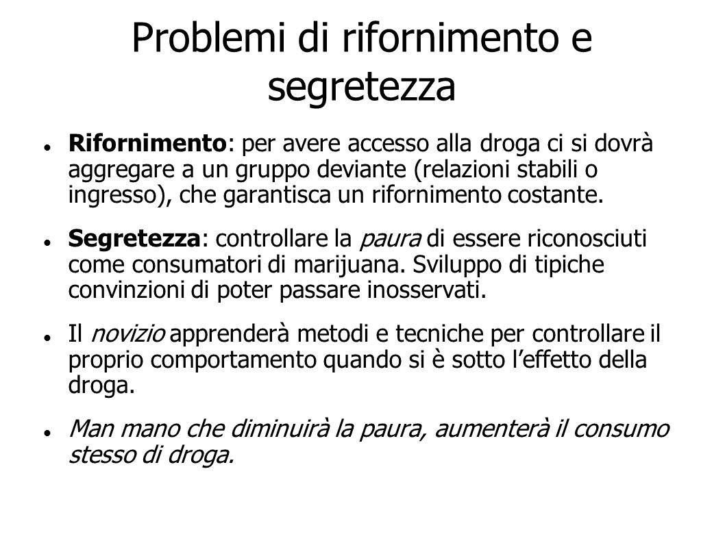 Problemi di rifornimento e segretezza Rifornimento: per avere accesso alla droga ci si dovrà aggregare a un gruppo deviante (relazioni stabili o ingre