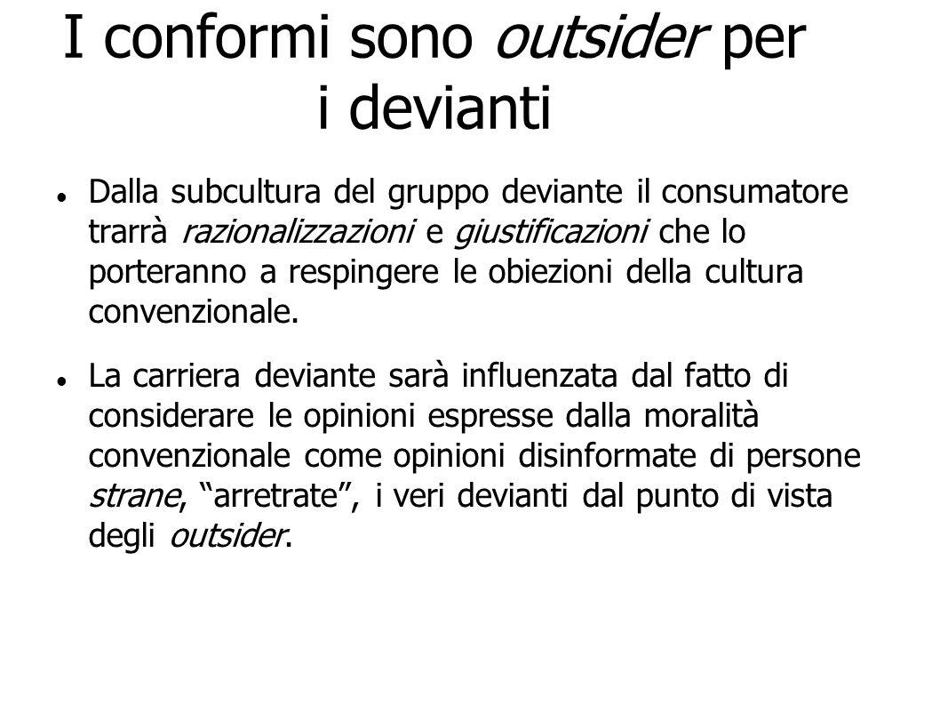 I conformi sono outsider per i devianti Dalla subcultura del gruppo deviante il consumatore trarrà razionalizzazioni e giustificazioni che lo porteran