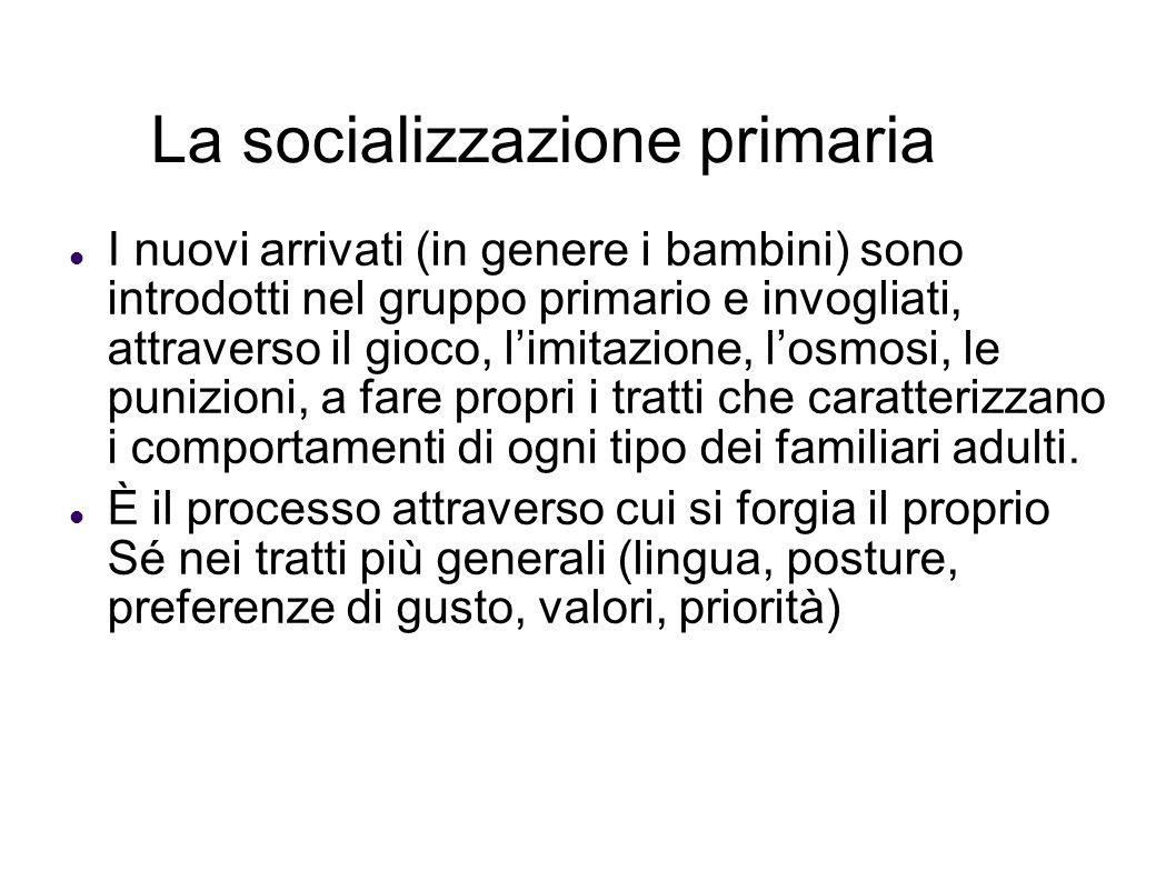 La socializzazione primaria I nuovi arrivati (in genere i bambini) sono introdotti nel gruppo primario e invogliati, attraverso il gioco, limitazione,