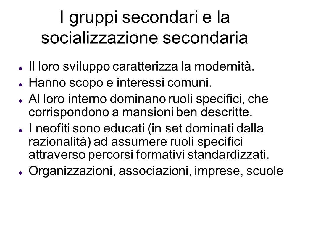 I gruppi secondari e la socializzazione secondaria Il loro sviluppo caratterizza la modernità. Hanno scopo e interessi comuni. Al loro interno dominan