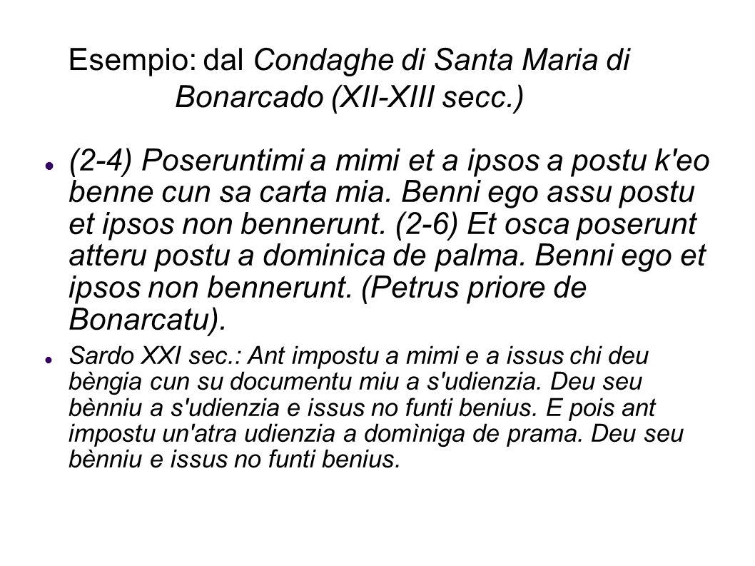 Esempio: dal Condaghe di Santa Maria di Bonarcado (XII-XIII secc.) (2-4) Poseruntimi a mimi et a ipsos a postu k'eo benne cun sa carta mia. Benni ego