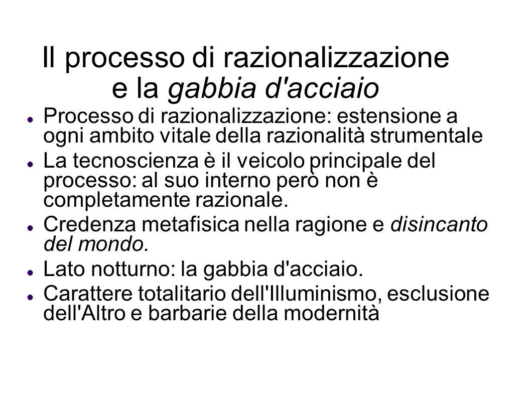 Il processo di razionalizzazione e la gabbia d'acciaio Processo di razionalizzazione: estensione a ogni ambito vitale della razionalità strumentale La