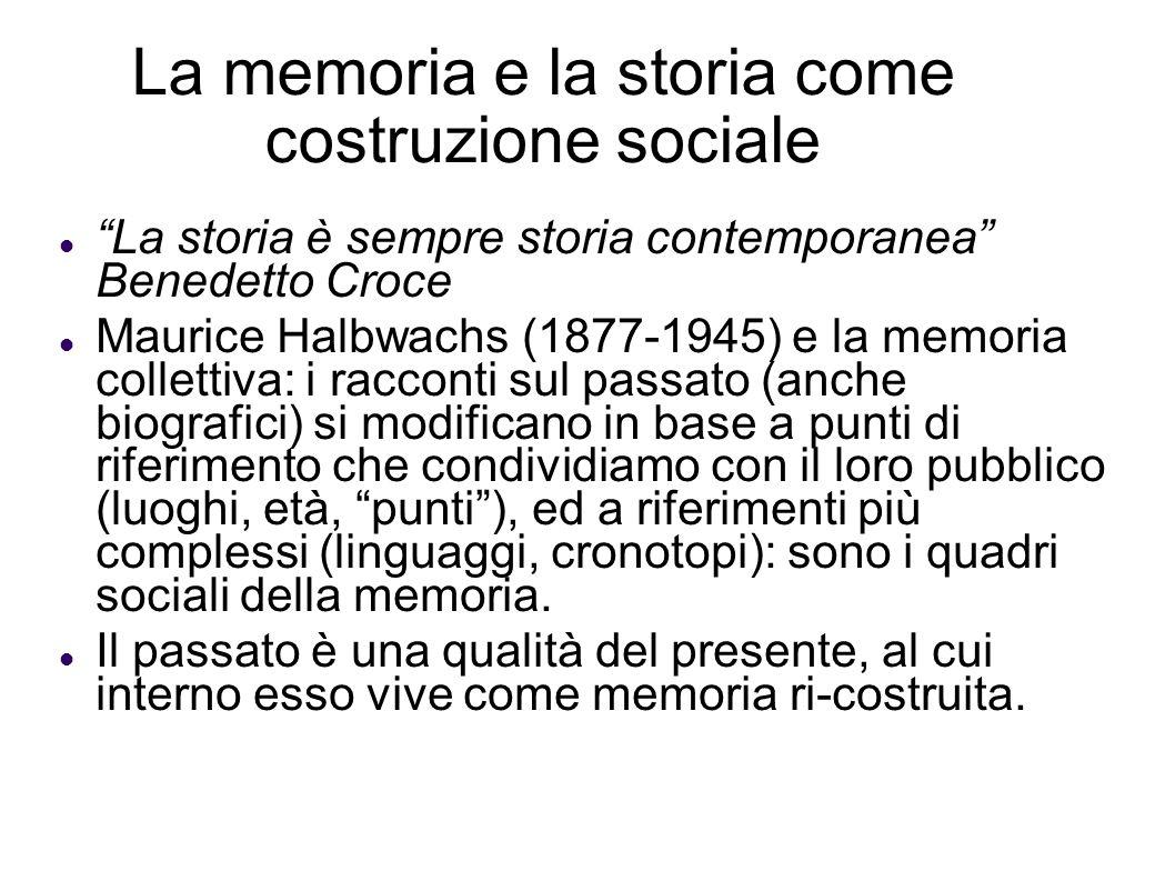 La memoria e la storia come costruzione sociale La storia è sempre storia contemporanea Benedetto Croce Maurice Halbwachs (1877-1945) e la memoria col