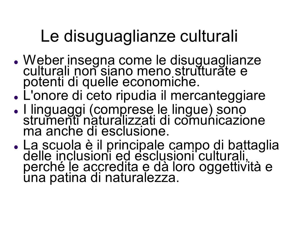 Le disuguaglianze culturali Weber insegna come le disuguaglianze culturali non siano meno strutturate e potenti di quelle economiche. L'onore di ceto