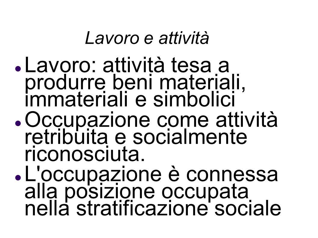 Lavoro e attività Lavoro: attività tesa a produrre beni materiali, immateriali e simbolici Occupazione come attività retribuita e socialmente riconosc