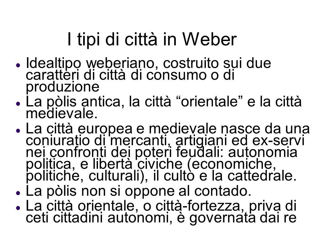 I tipi di città in Weber Idealtipo weberiano, costruito sui due caratteri di città di consumo o di produzione La pòlis antica, la città orientale e la