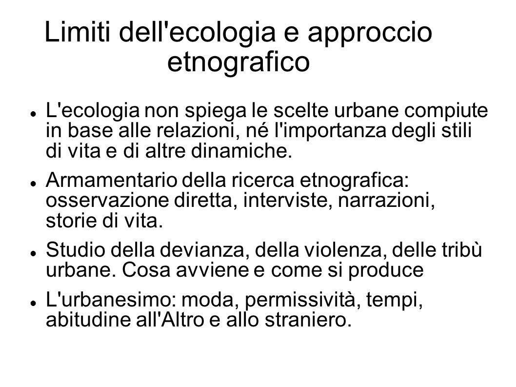 Limiti dell'ecologia e approccio etnografico L'ecologia non spiega le scelte urbane compiute in base alle relazioni, né l'importanza degli stili di vi