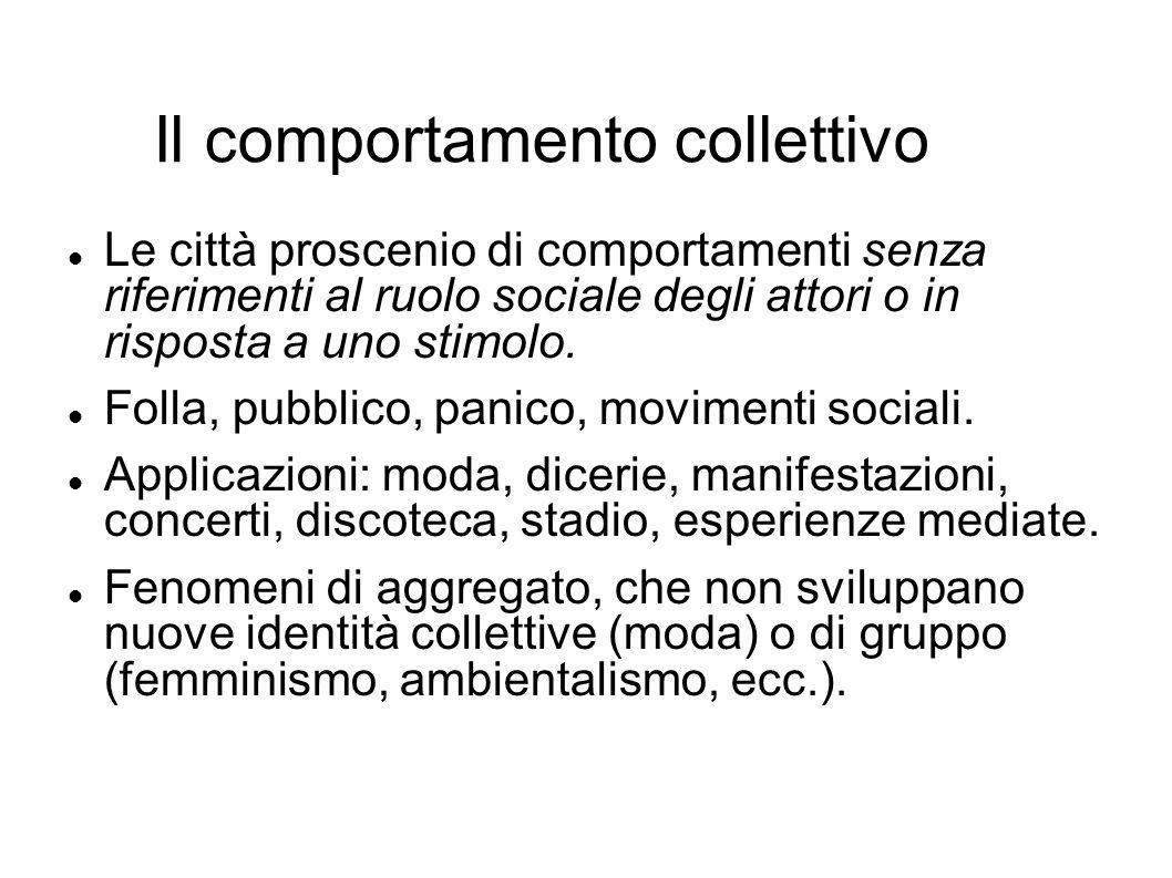 Il comportamento collettivo Le città proscenio di comportamenti senza riferimenti al ruolo sociale degli attori o in risposta a uno stimolo. Folla, pu
