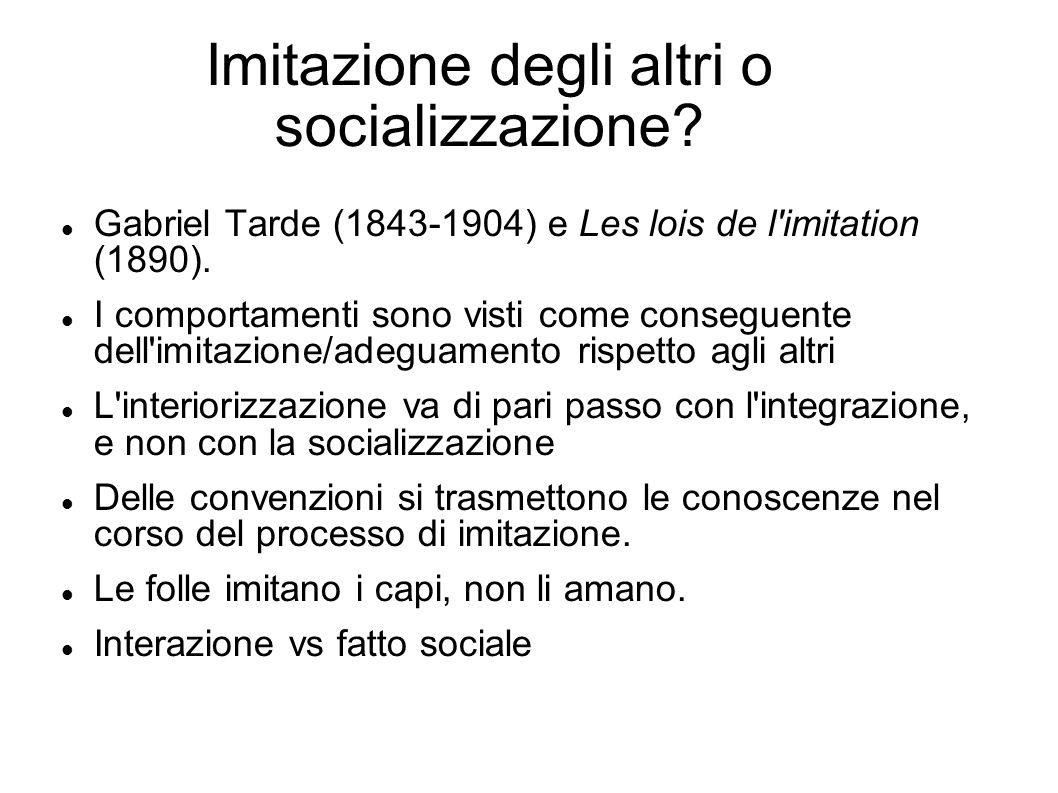 Imitazione degli altri o socializzazione? Gabriel Tarde (1843-1904) e Les lois de l'imitation (1890). I comportamenti sono visti come conseguente dell