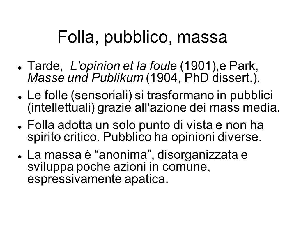 Folla, pubblico, massa Tarde, L'opinion et la foule (1901),e Park, Masse und Publikum (1904, PhD dissert.). Le folle (sensoriali) si trasformano in pu