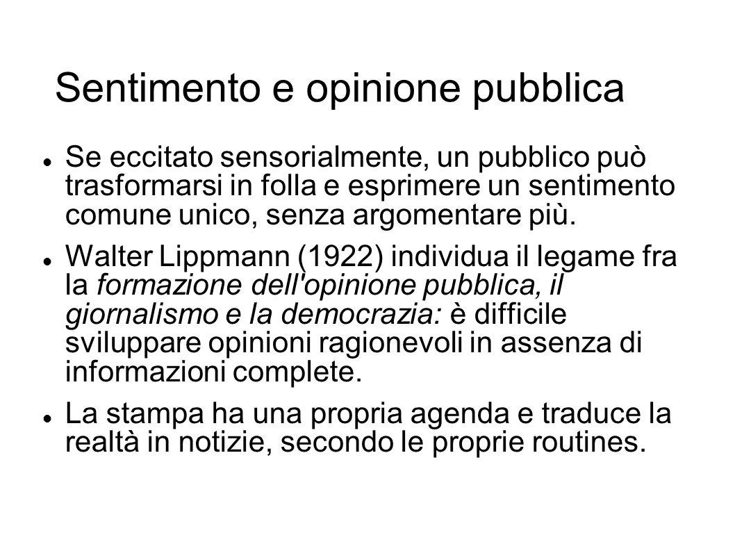 Sentimento e opinione pubblica Se eccitato sensorialmente, un pubblico può trasformarsi in folla e esprimere un sentimento comune unico, senza argomen
