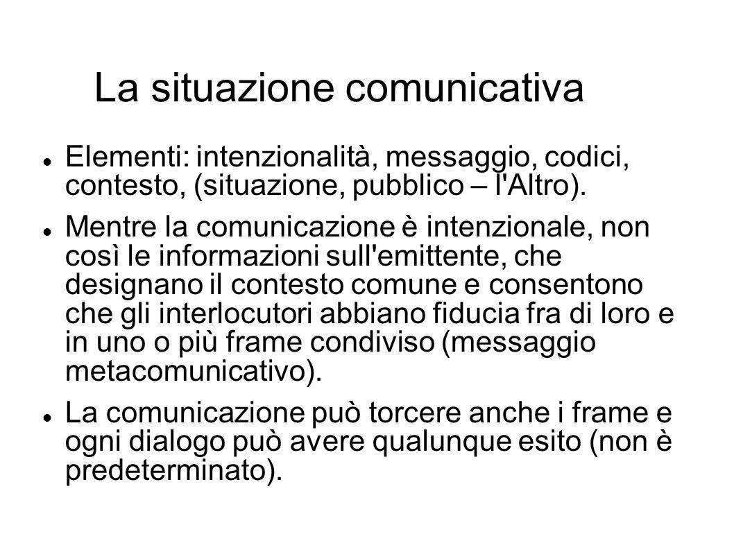 La situazione comunicativa Elementi: intenzionalità, messaggio, codici, contesto, (situazione, pubblico – l'Altro). Mentre la comunicazione è intenzio