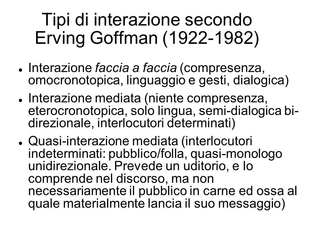 Tipi di interazione secondo Erving Goffman (1922-1982) Interazione faccia a faccia (compresenza, omocronotopica, linguaggio e gesti, dialogica) Intera