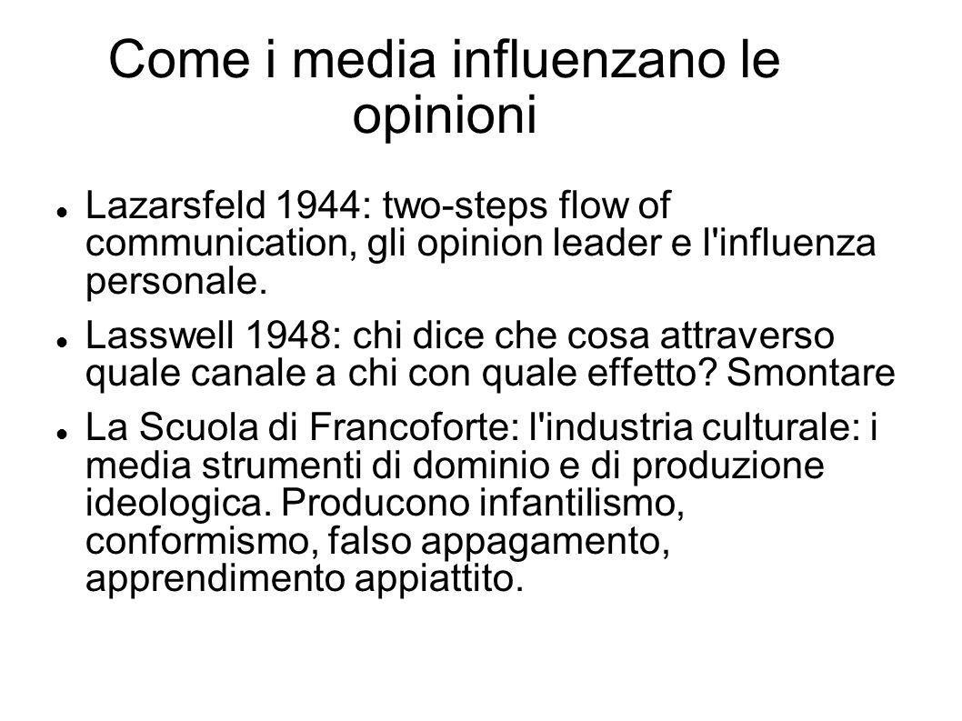 Come i media influenzano le opinioni Lazarsfeld 1944: two-steps flow of communication, gli opinion leader e l'influenza personale. Lasswell 1948: chi
