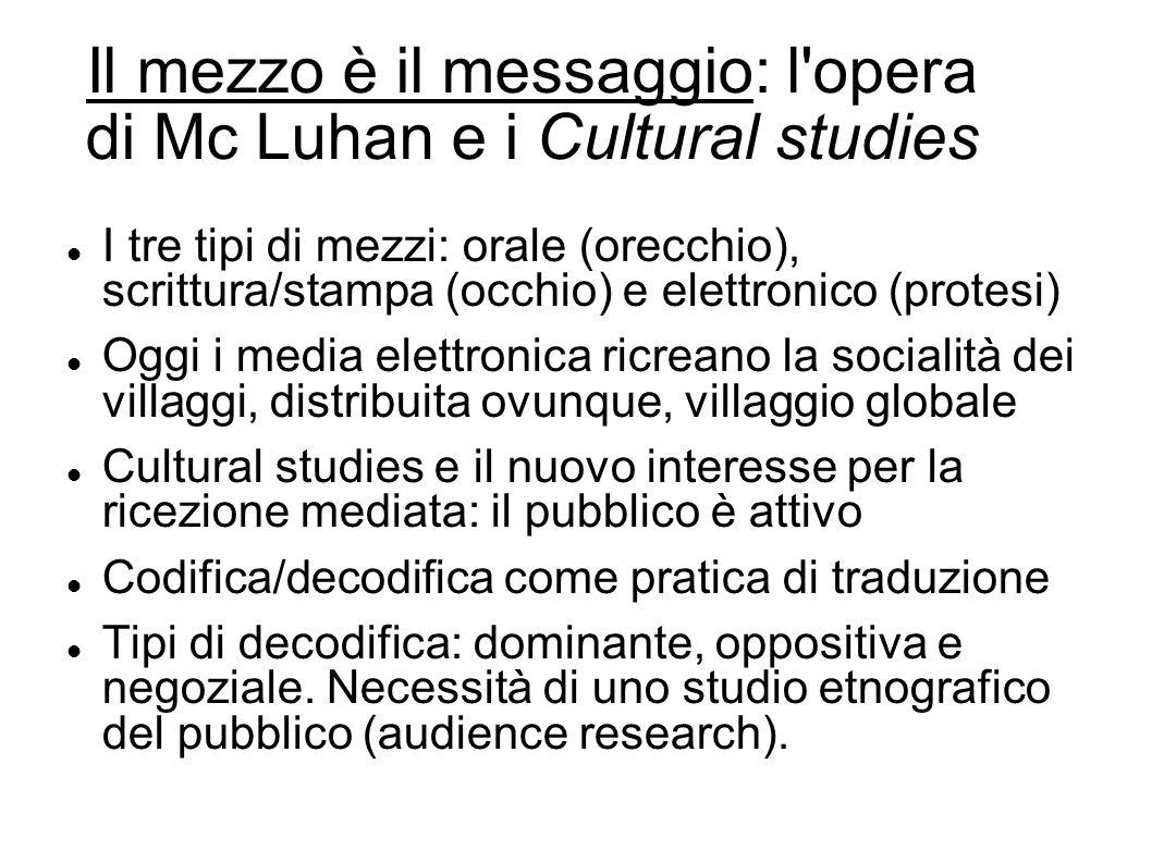 Il mezzo è il messaggio: l'opera di Mc Luhan e i Cultural studies I tre tipi di mezzi: orale (orecchio), scrittura/stampa (occhio) e elettronico (prot