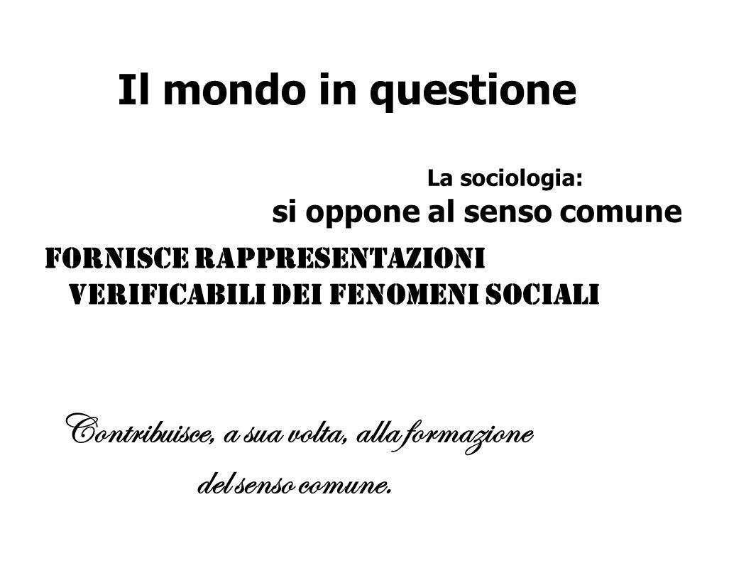 Il mondo in questione Fornisce rappresentazioni verificabili dei fenomeni sociali La sociologia: si oppone al senso comune Contribuisce, a sua volta,