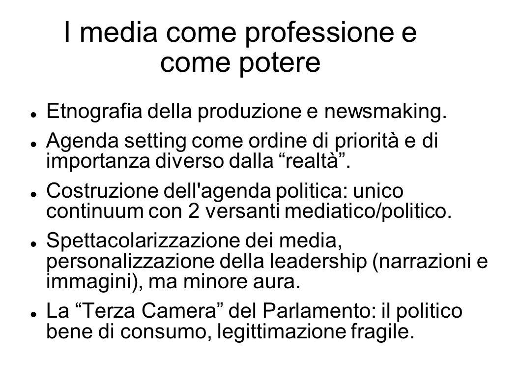 I media come professione e come potere Etnografia della produzione e newsmaking. Agenda setting come ordine di priorità e di importanza diverso dalla